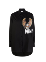 MM6 MAISON MARGIELA Eagle Logo Shirt in Black Poplin