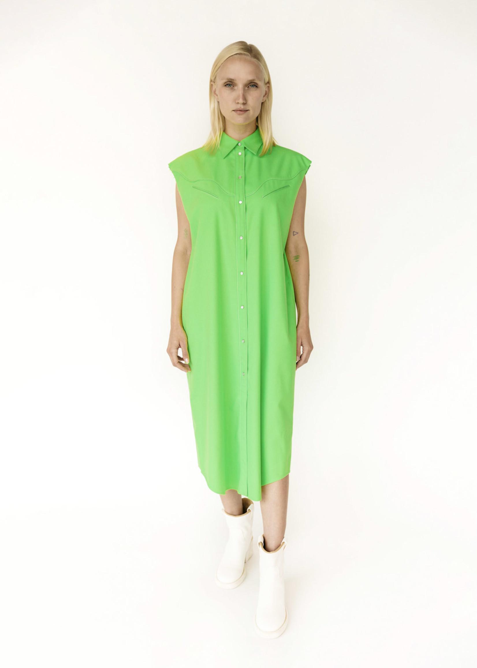 MM6 MAISON MARGIELA Neon Green Western Sleeveless Shirt Dress