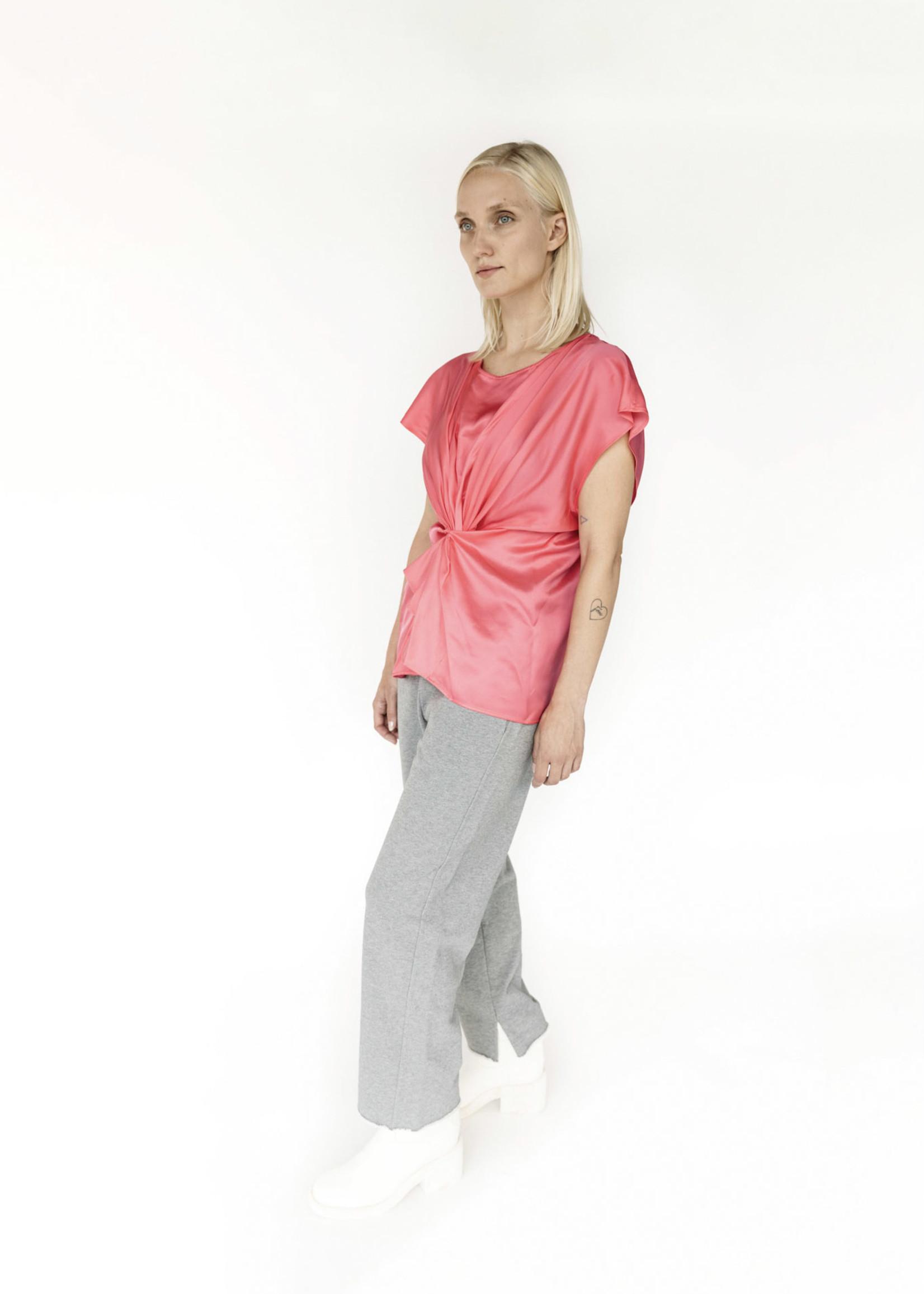 MM6 MAISON MARGIELA Pink Satin Twisted Front Shirt
