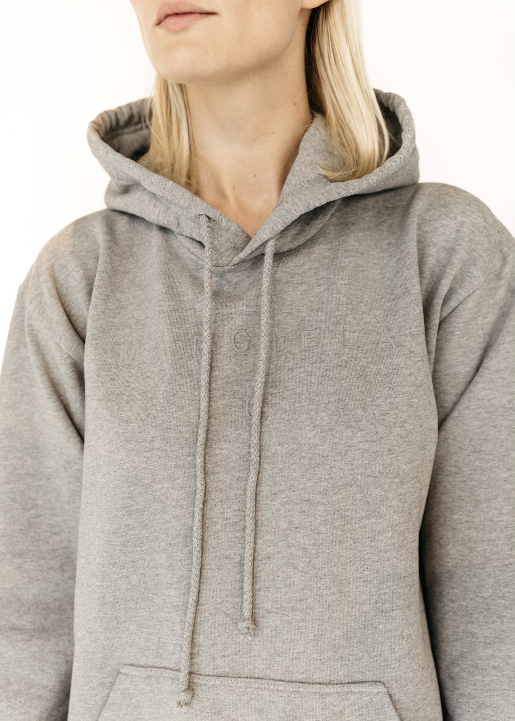 MM6 MAISON MARGIELA Embroidered Tonal Logo Hoodie in Heather Grey