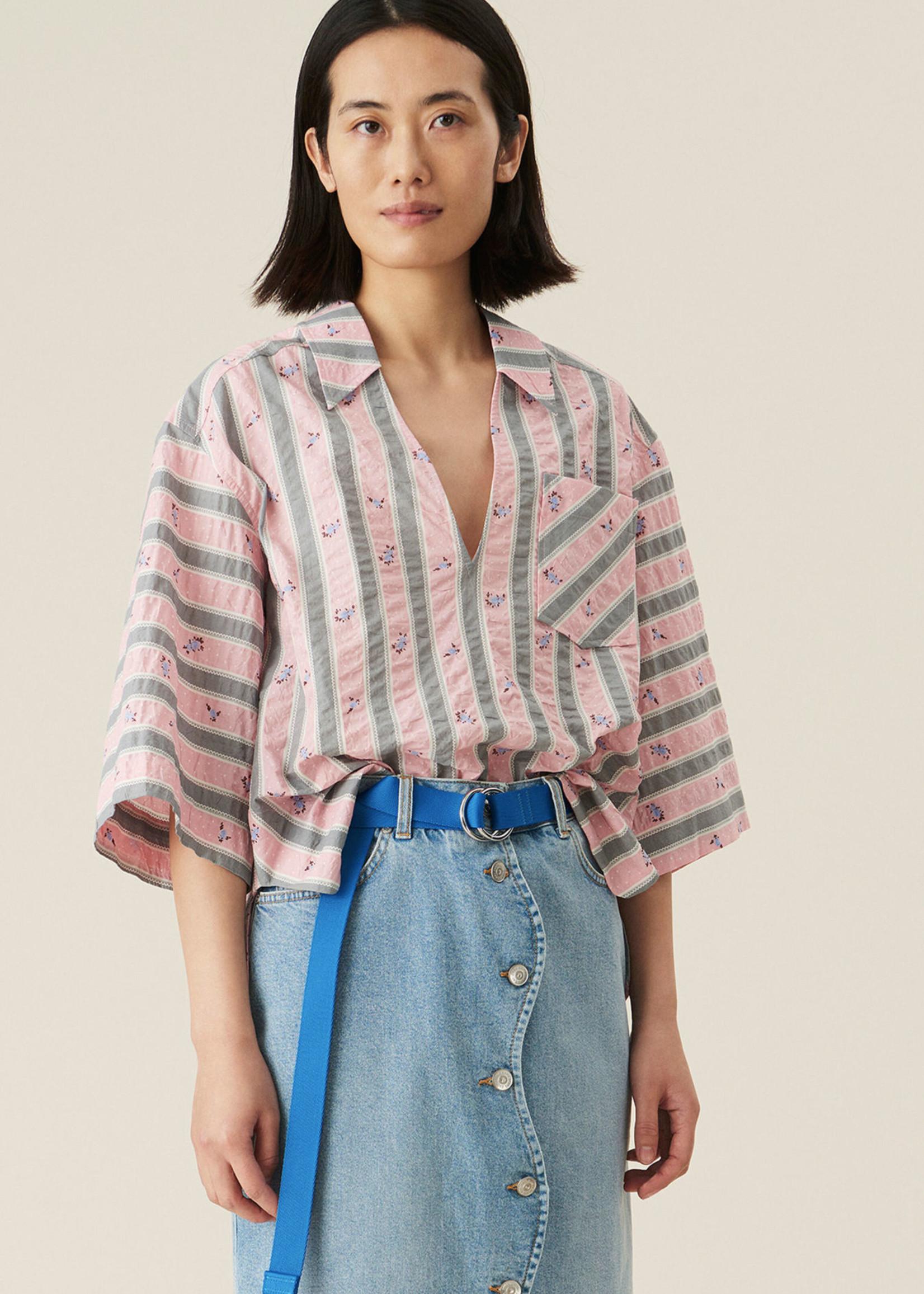 GANNI Seersucker Pull Over Shirt in Pink Print