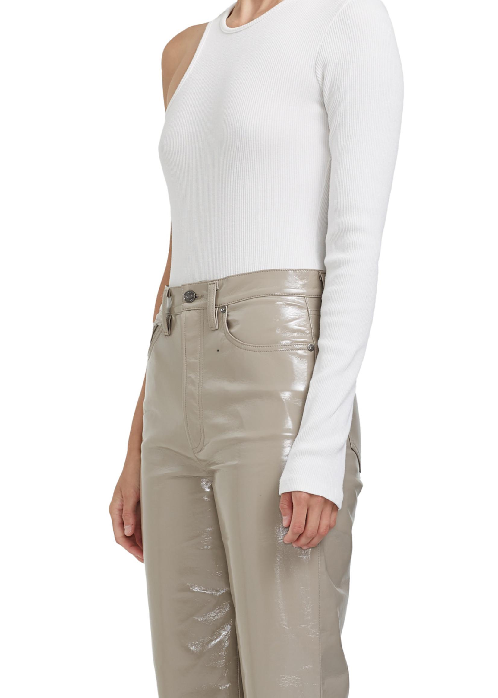 AGOLDE Bea One Sleeve Bodysuit in White