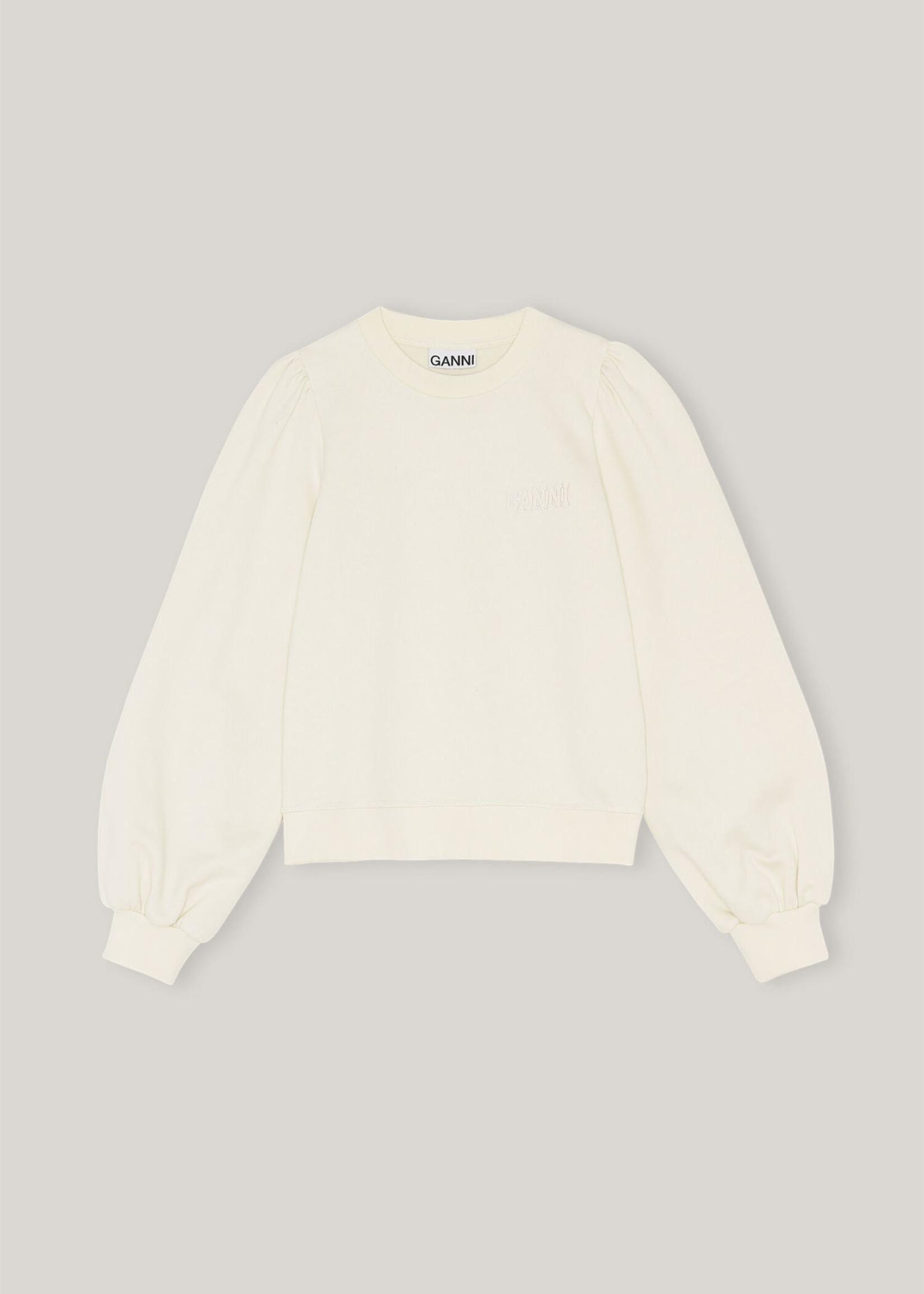 GANNI Puff Sleeve Sweatshirt in Beige