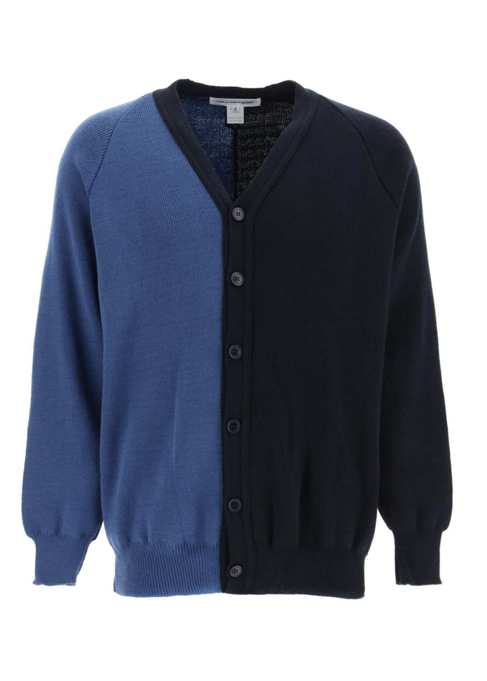 COMME des GARÇONS SHIRT Color Block Cardigan Sweater in Blue