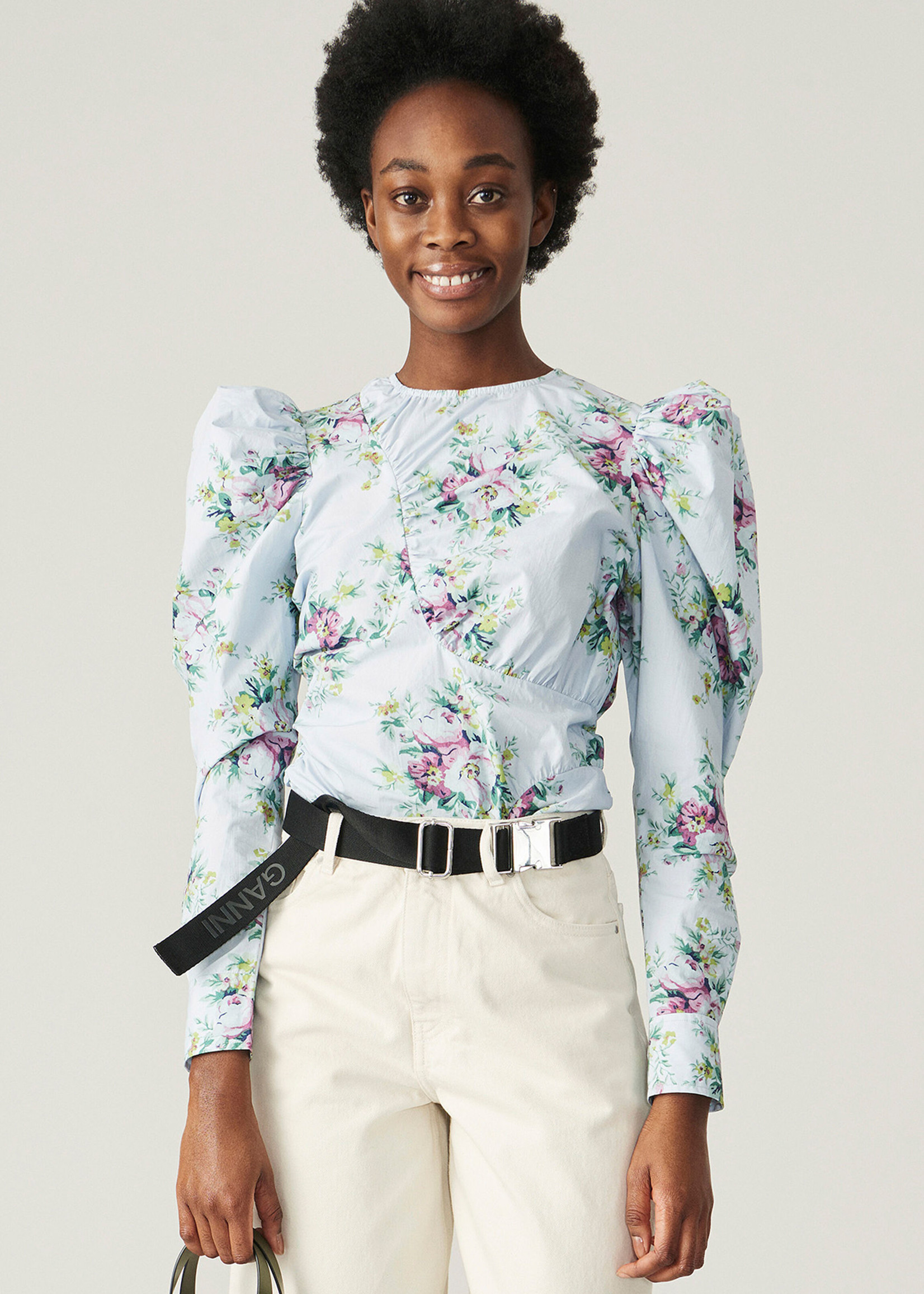 GANNI Puff Sleeve Shirt Blue Floral