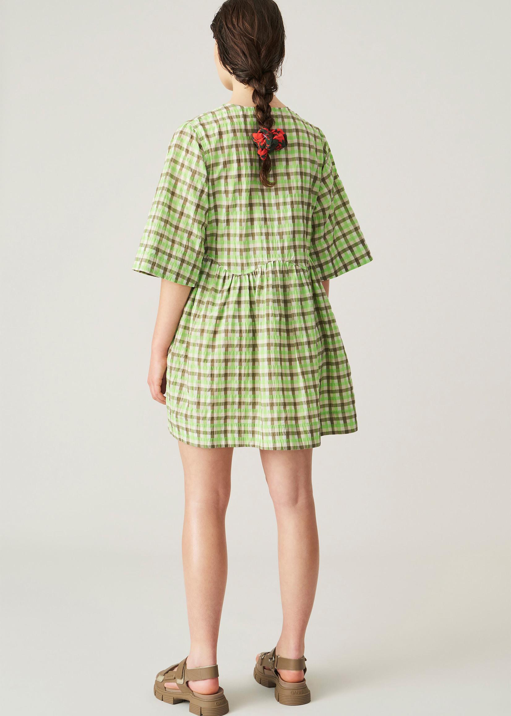 GANNI Green Plaid Wrap Mini Dress