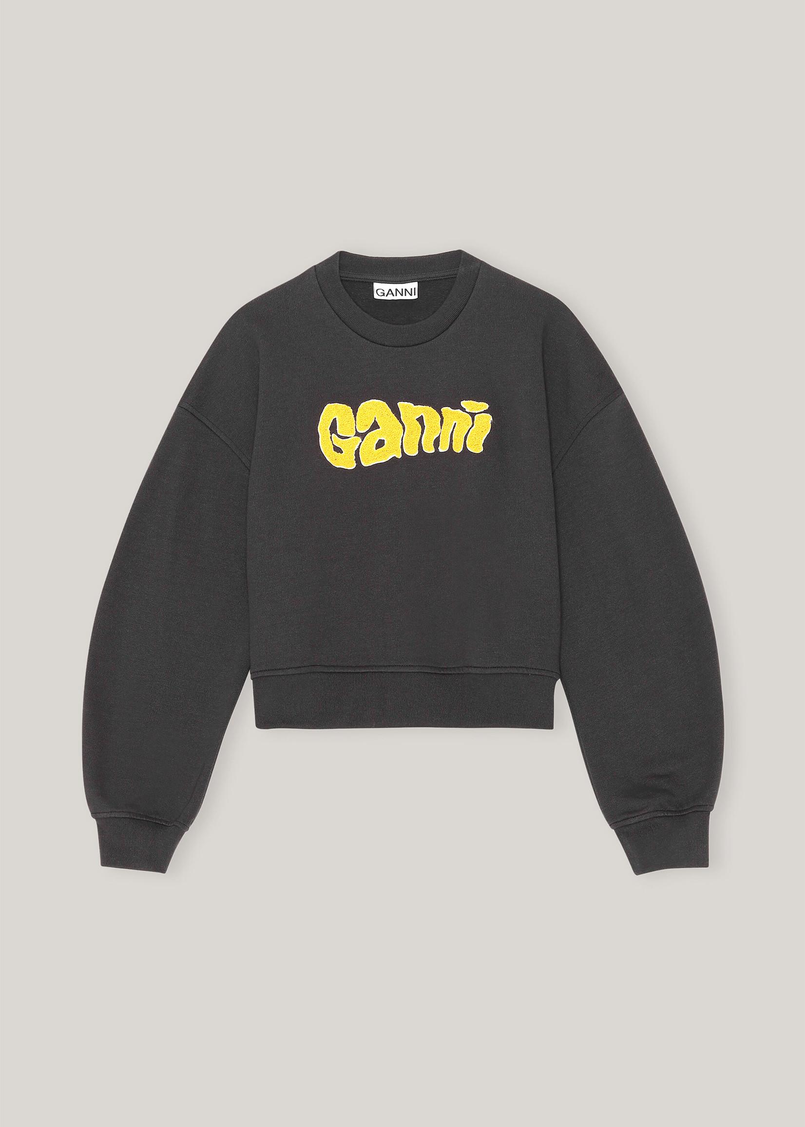GANNI Cropped Logo Sweatshirt in Phantom