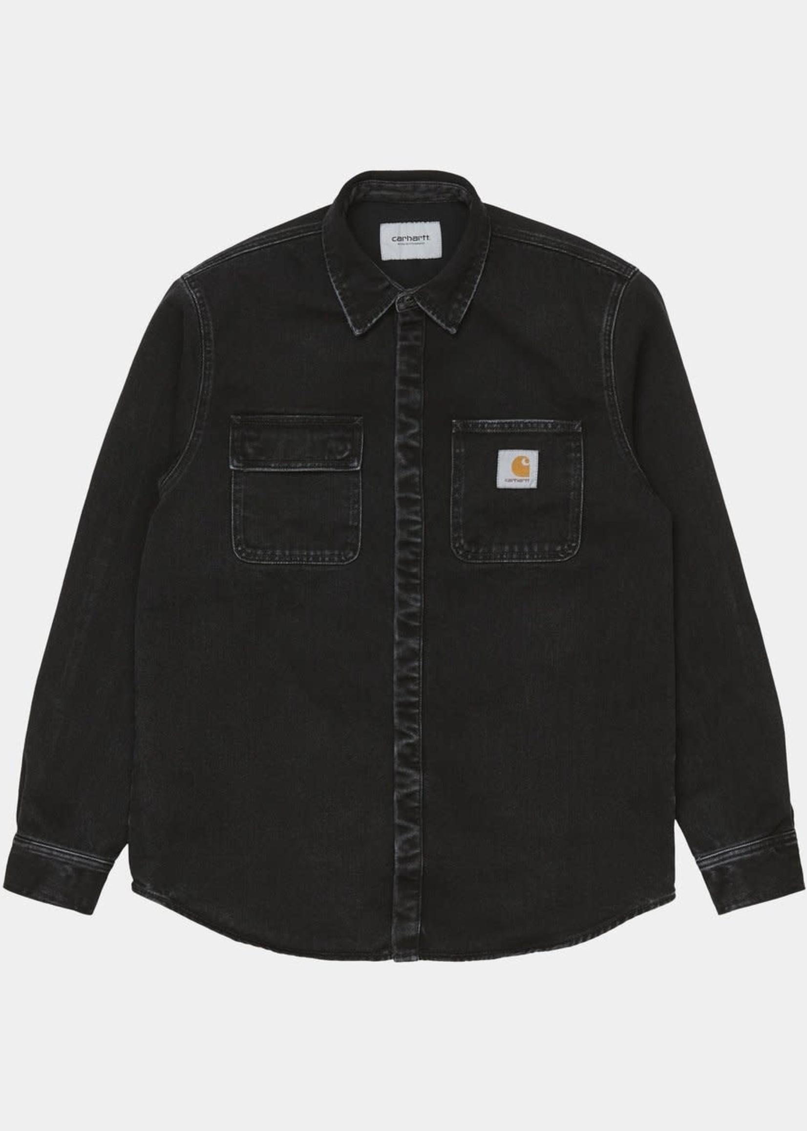 Carhartt Work In Progress Salinac Shirt Jacket in Black Stone Washed Denim