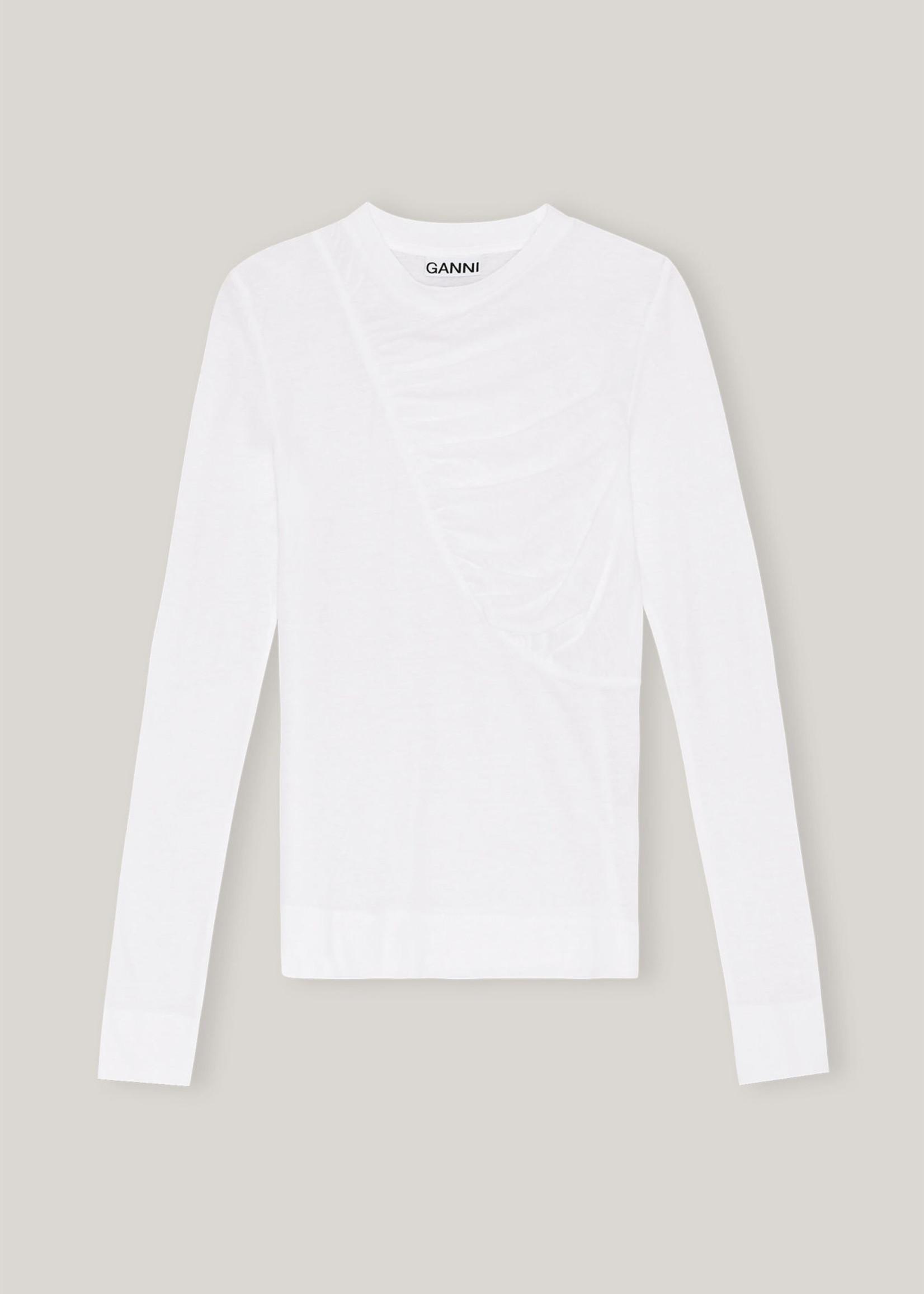 GANNI Gathered Long Sleeve T-shirt in White