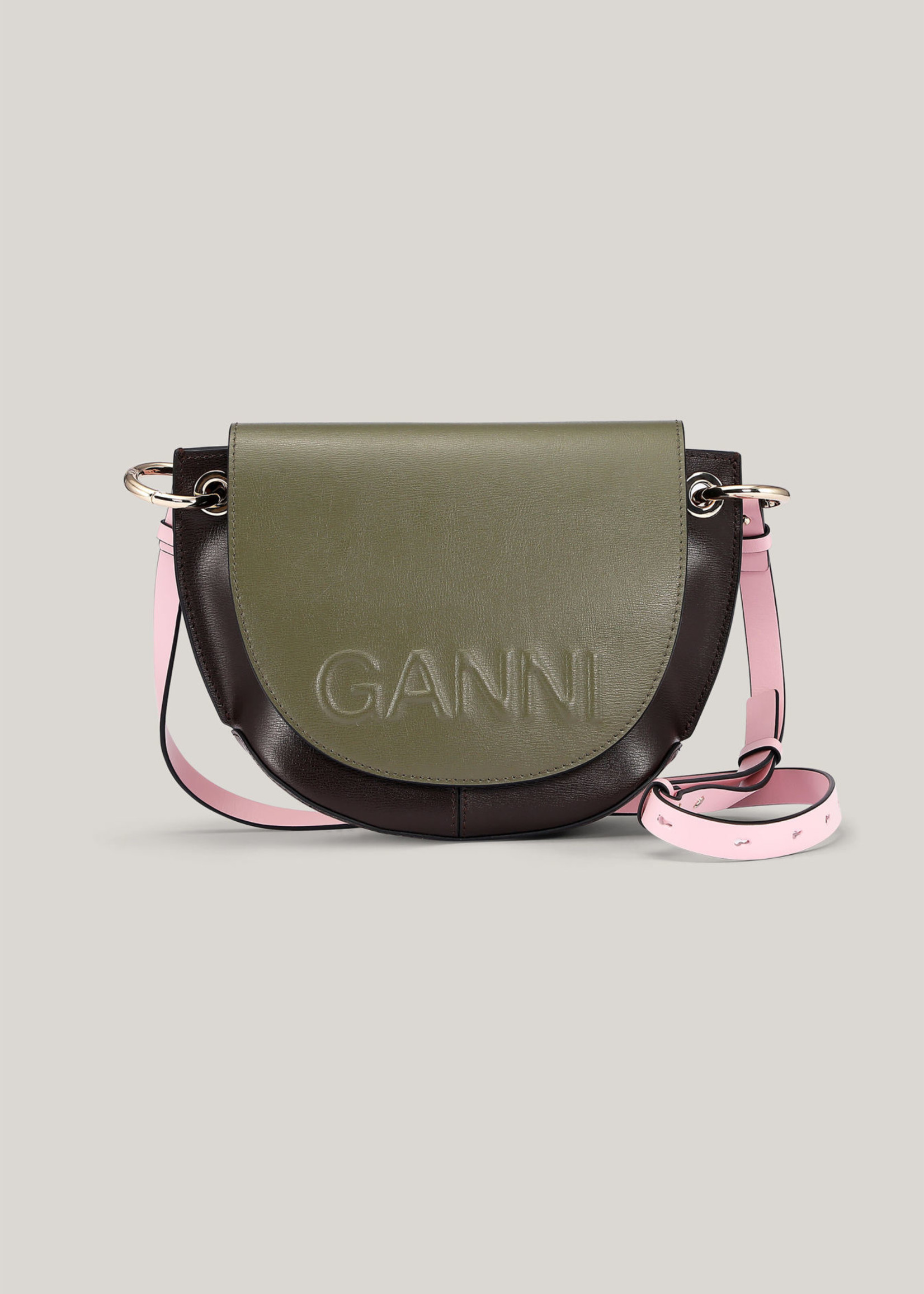 GANNI Recycled Leather Saddle Bag in Olive