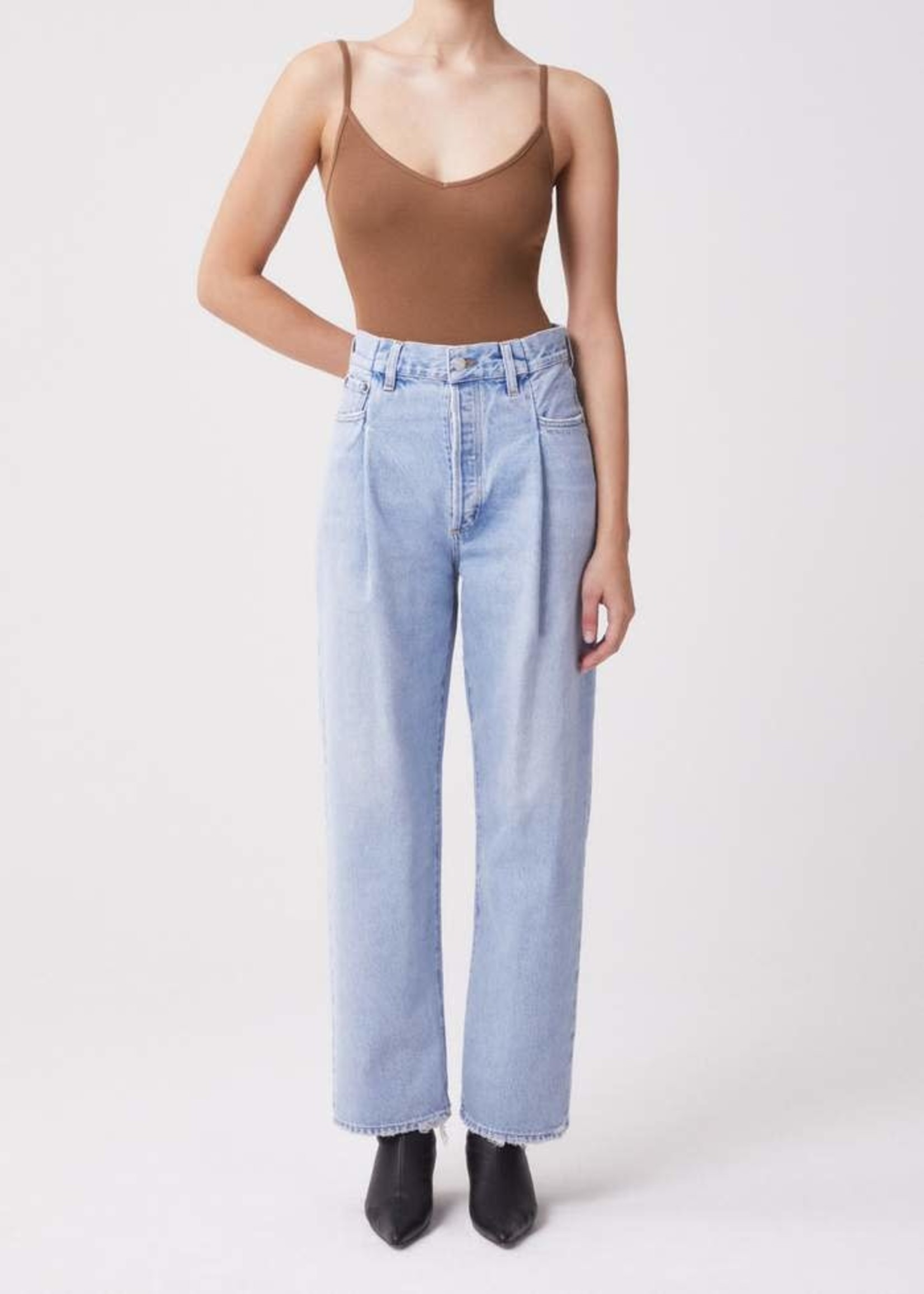 AGOLDE Fold Waistband High Rise Tapered Jean in Sideline