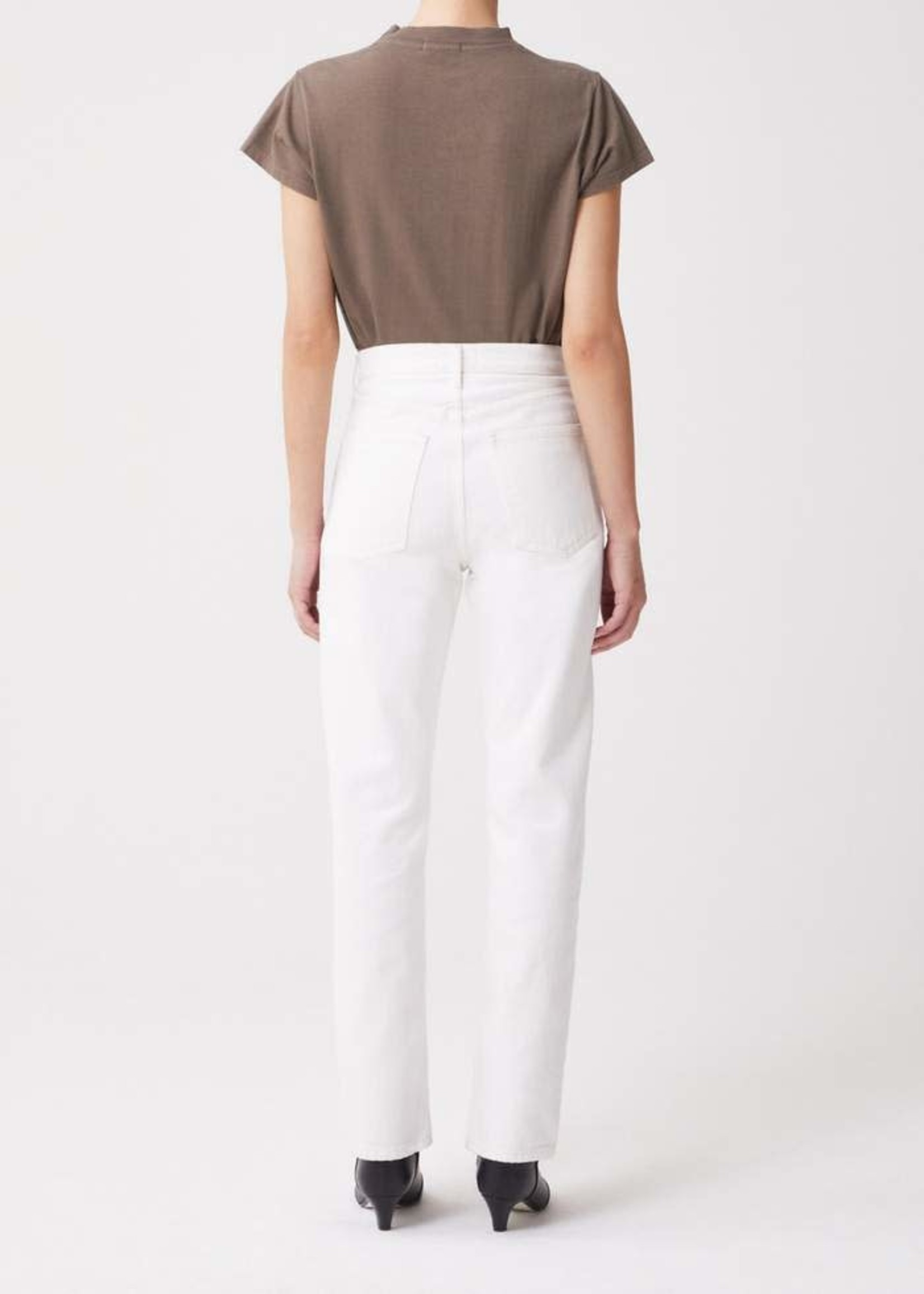 AGOLDE ANIKA CAP SLEEVE MOCK NECK T-SHIRT IN Chocolate CHIP