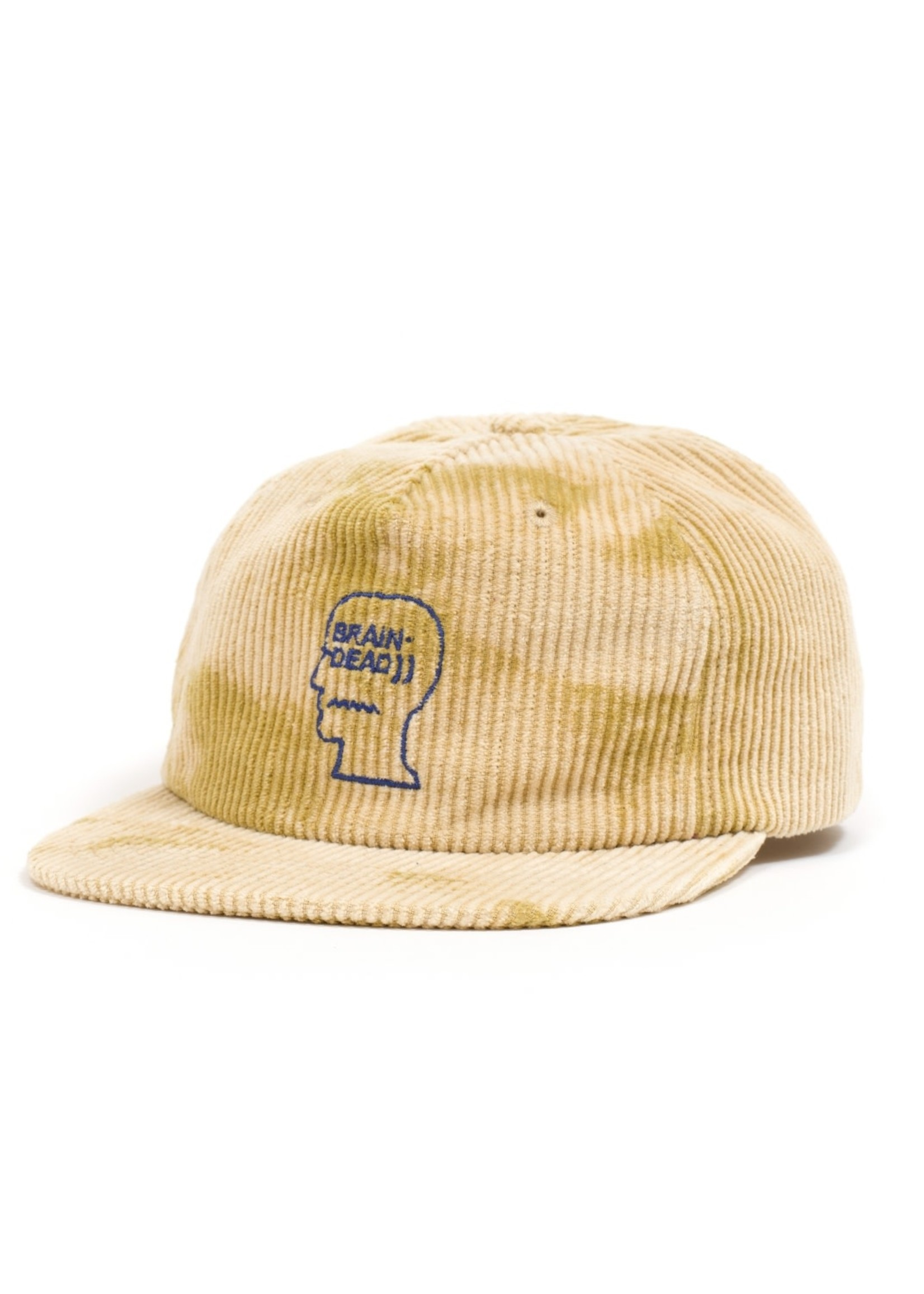 Brain Dead Gold Bleached Corduroy 5 panel Cap with logo