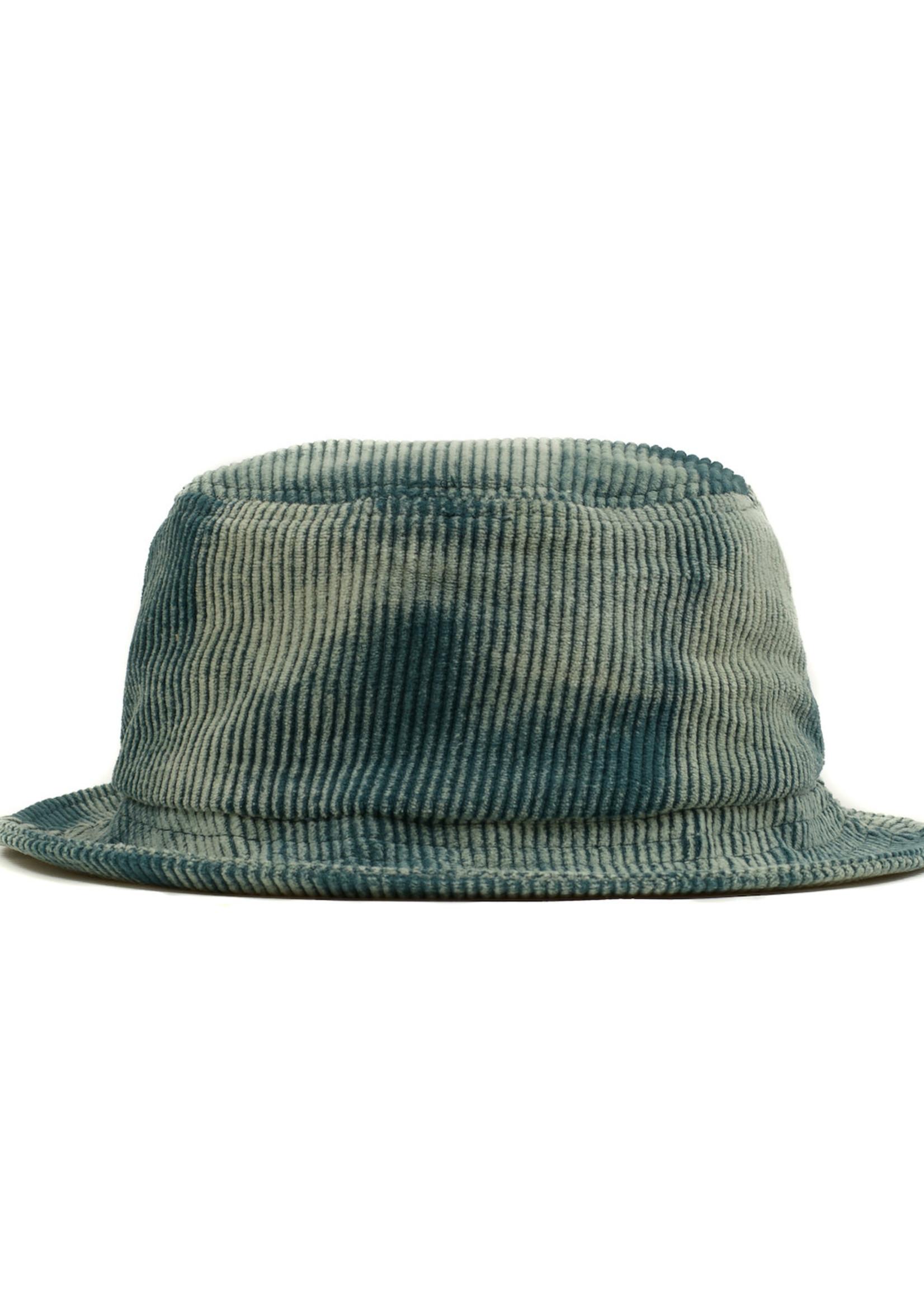 Brain Dead Spikey Logo Bleached Corduroy Bucket Hat in Mallard Green
