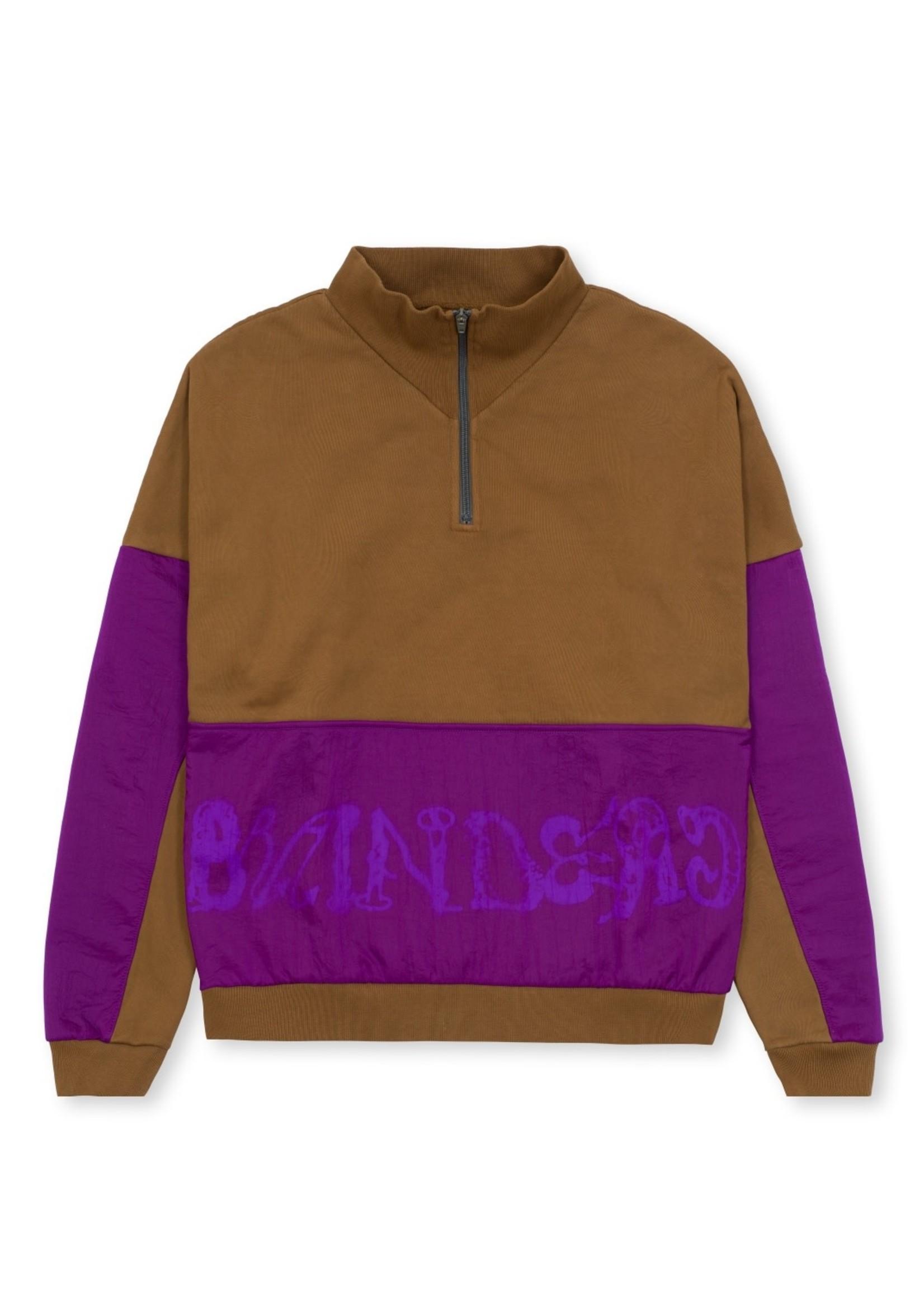 Brain Dead Sinister Screw 1/2 Zip Overlay Fleece Sweatshirt in Brown