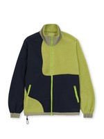 Brain Dead Sherpa and Nylon Paneled Full Zip Jacket in Lime and Black