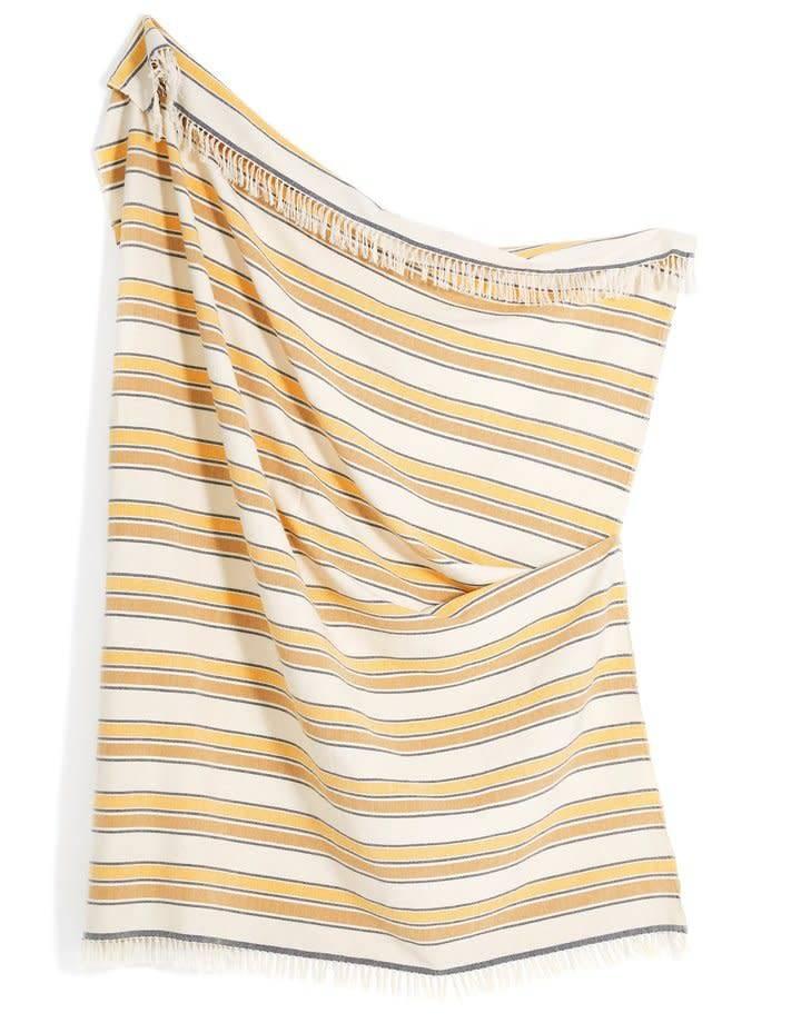 Minna Gold Stripe Throw Blanket by Minna