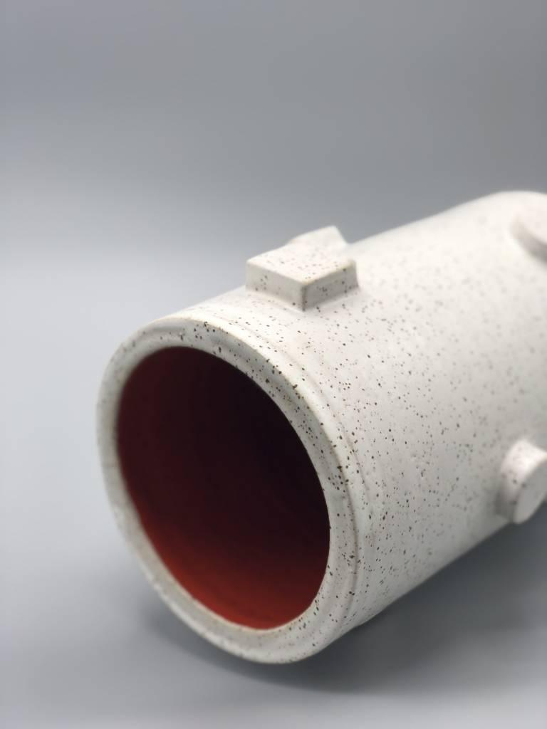 Natan Moss Ceramics Artificial Intelligence Vase:  Red Cylinder