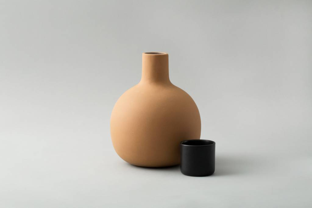 Lagos Del Mundo Terracotta Pitcher with Black Cup