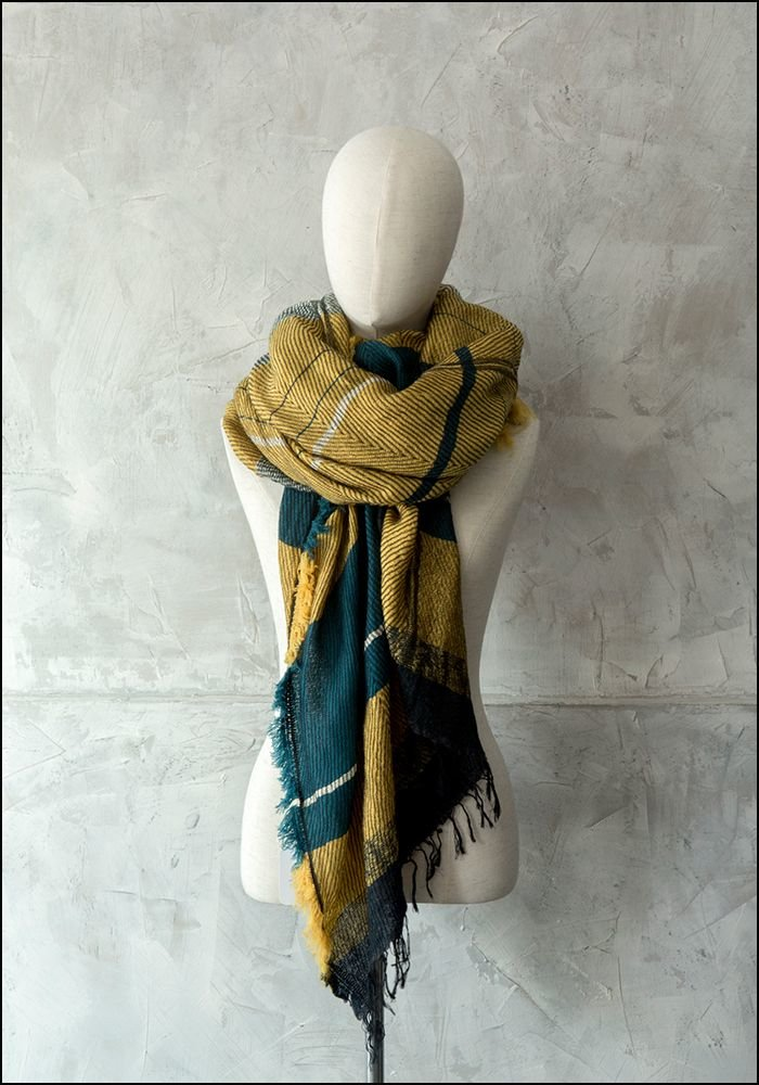 Tamaki Niime Oversized Wool Cotton Blend Japanese Scarf