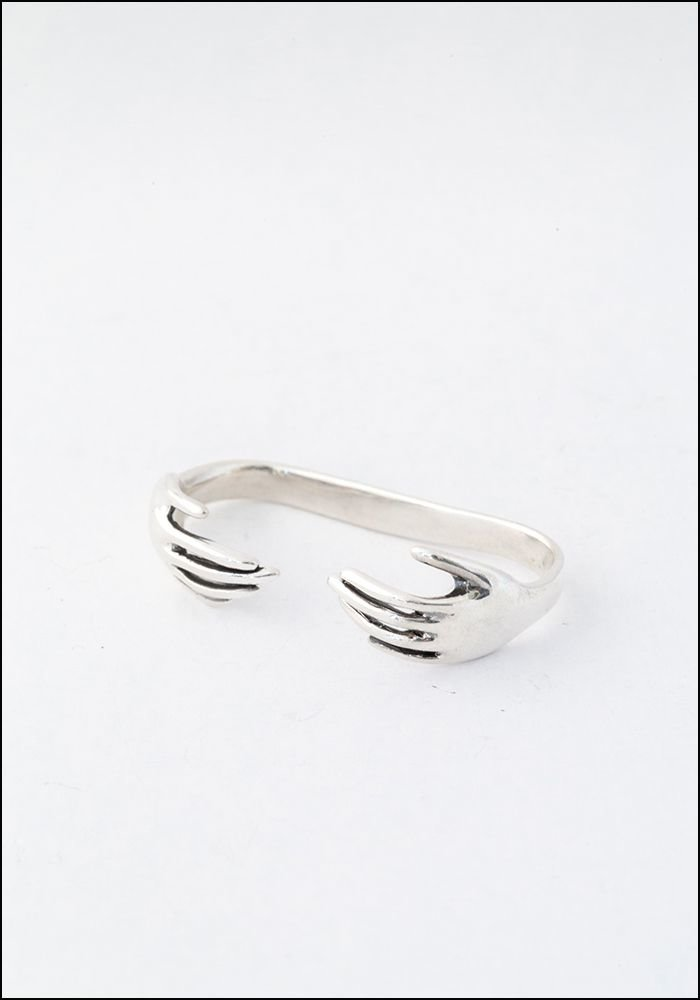 Captve Captve Silver Hand Double Ring