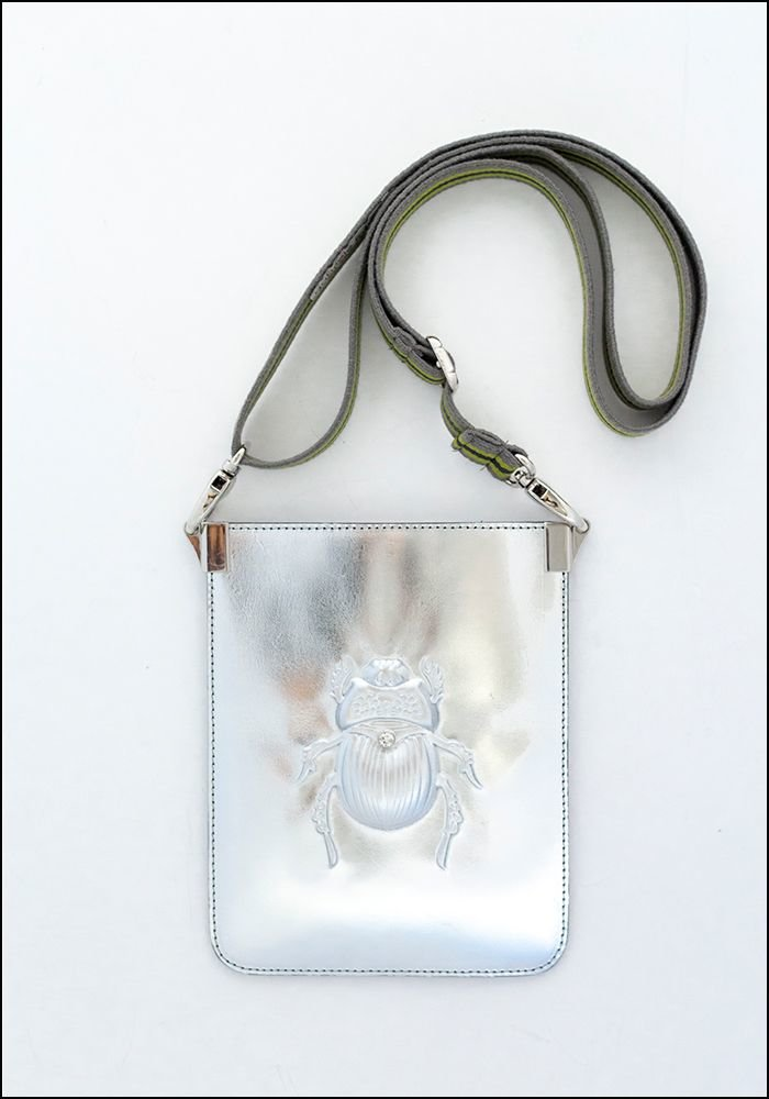 Embossed Leather Scarab Crossbody Pouch