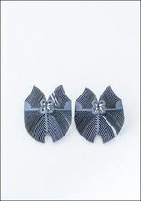 Oropopo Laser Cut Flutter Denim Leather Earrings