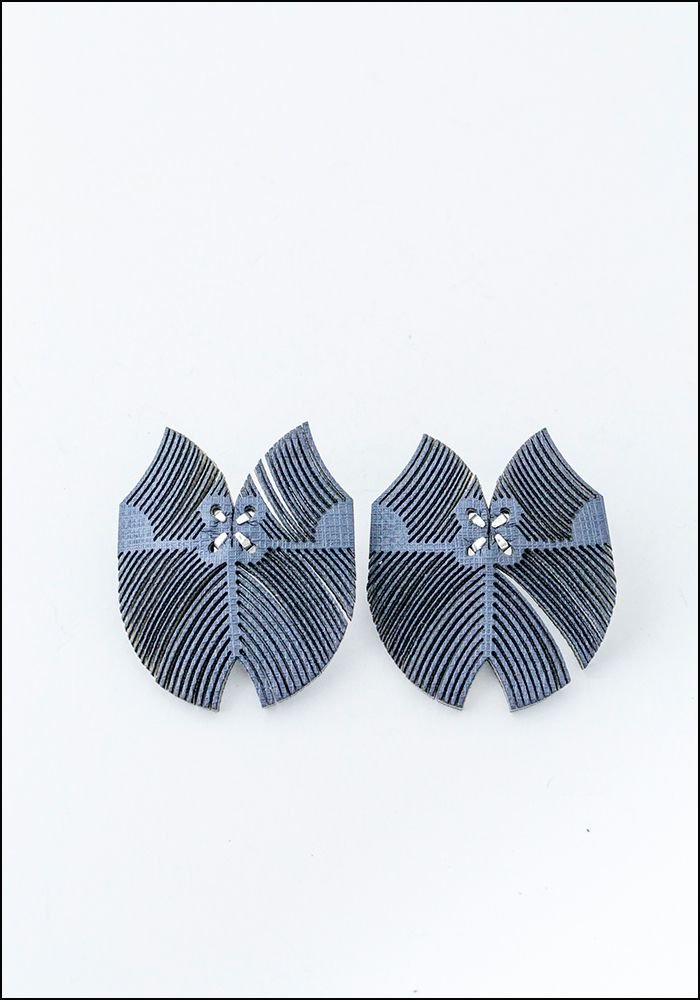 Oropopo Laser Cut Flutter Denim Leather Earrings
