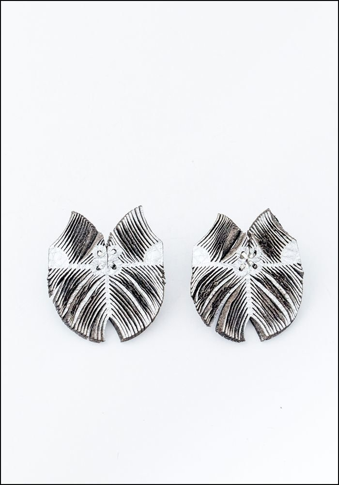 Oropopo Laser Cut Flutter Silver Leather Earrings