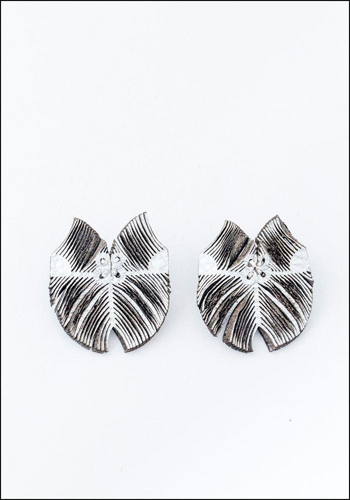 Oropopo Laser Cut Flutter Silver Leather Earrings