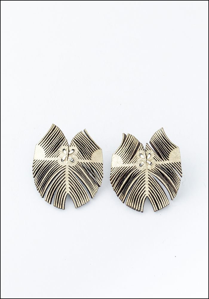 Oropopo Laser Cut Flutter Gold Leather Earrings