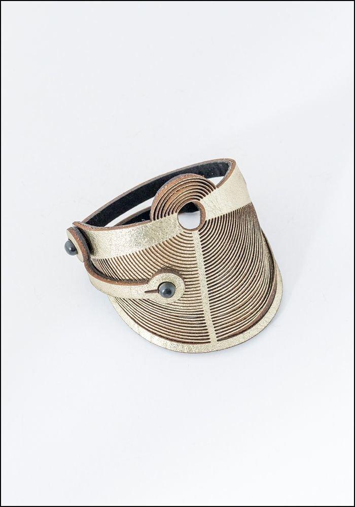 Oropopo Laser Cut Gold Leather Rivet Bracelet