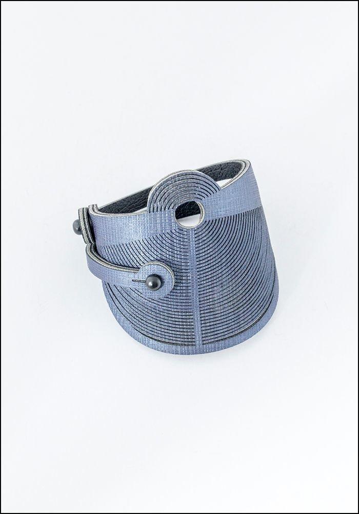 Oropopo Laser Cut Denim Leather Rivet Bracelet