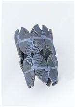 Oropopo Wide Laser Cut Denim Leather Cuff