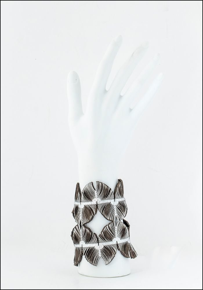 Oropopo Wide Laser Cut Silver Leather Cuff
