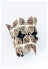 Oropopo Wide Laser Cut Gold Leather Cuff