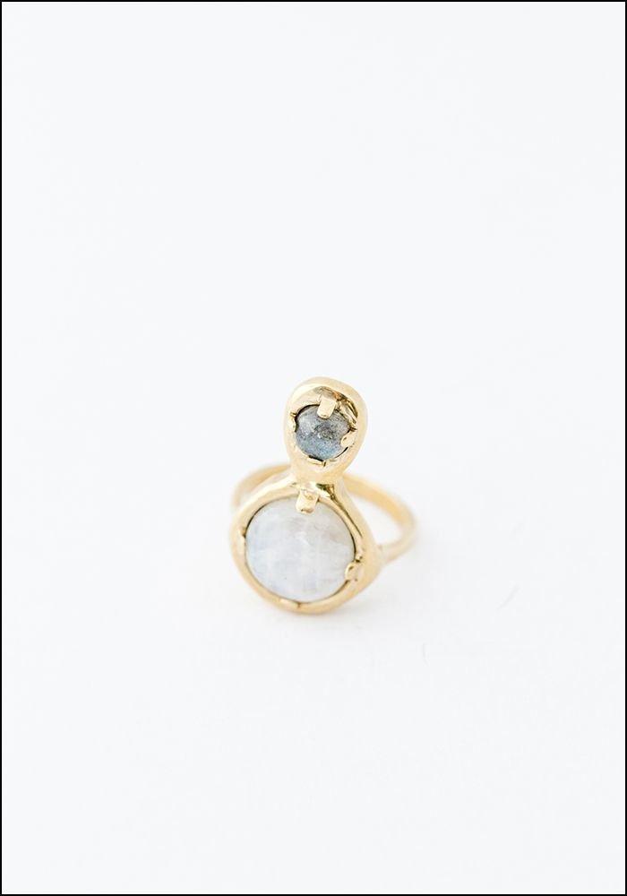 Seaworthy Seaworthy Moonstone Labradorite Drop Ring