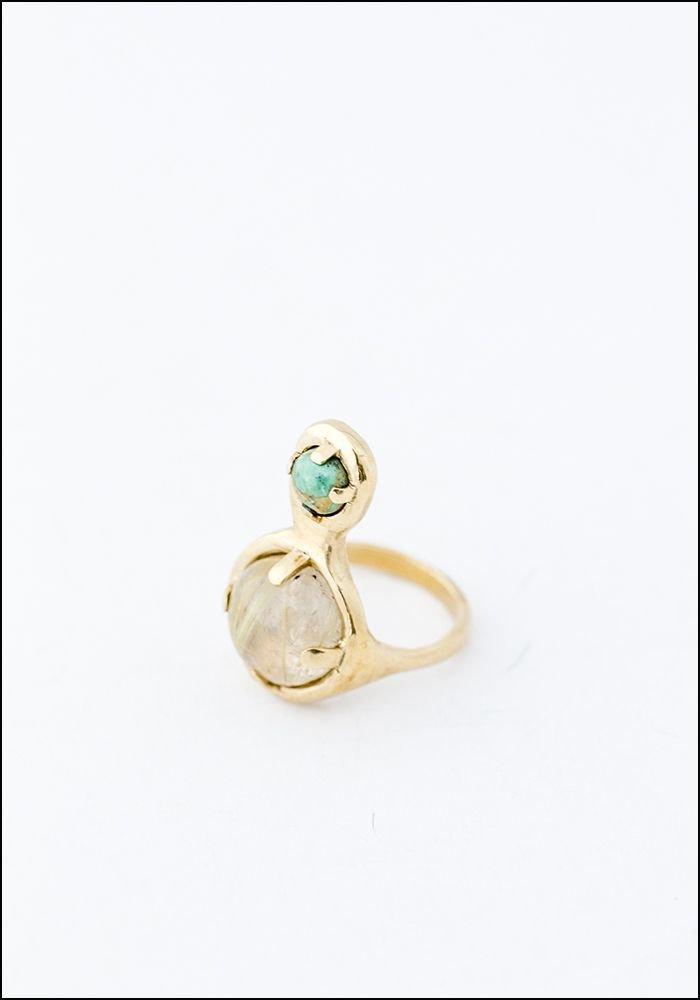 Seaworthy Seaworthy Quartz and Turquoise Drops Ring