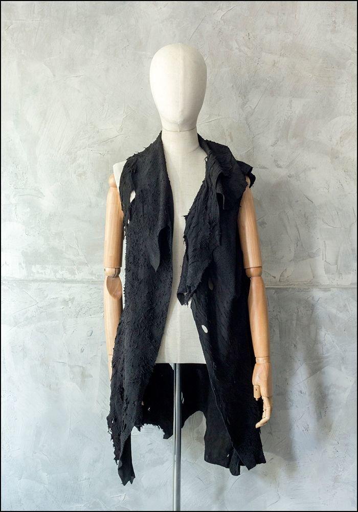 Claudio Cutuli Raw Edged Leather Vest