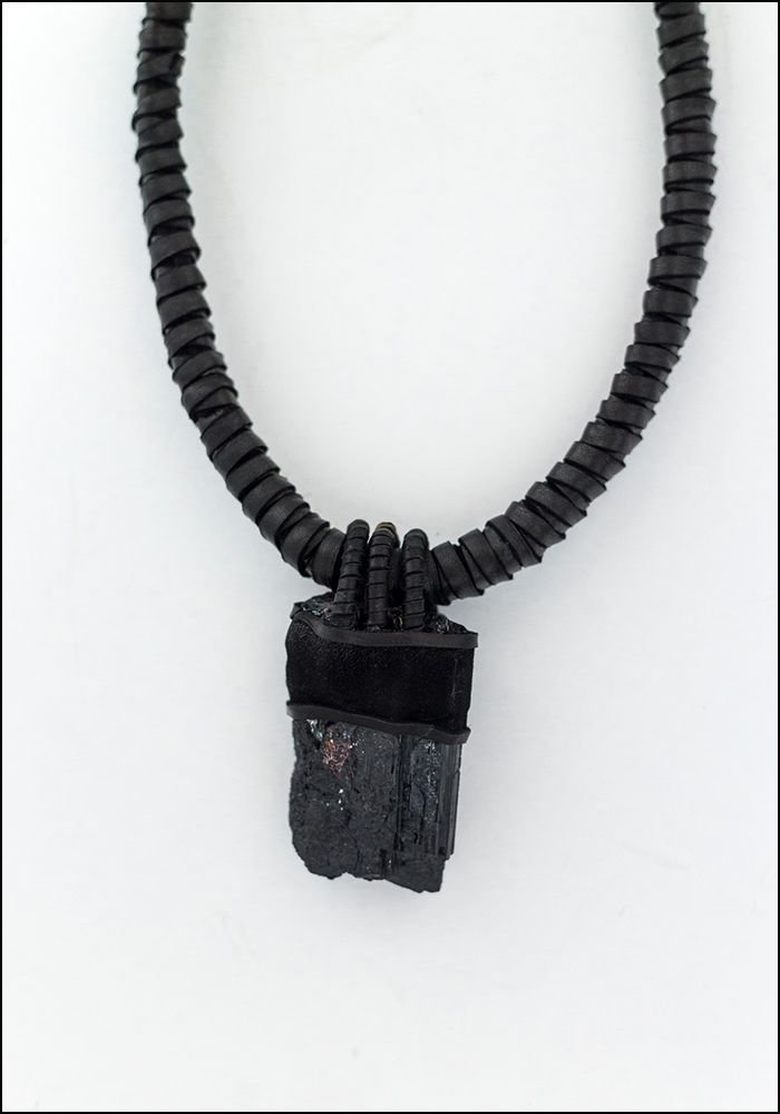 Design Aust Leather Wrapped Tourmaline Leather Necklace