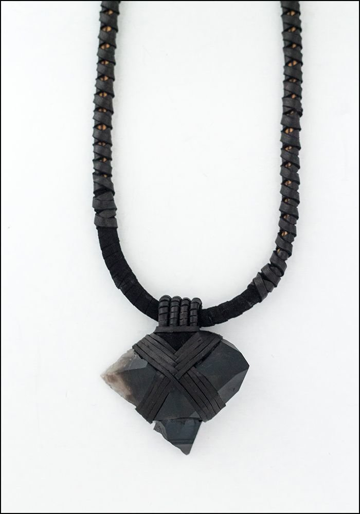 Design Aust Design Aust Smoky Quartz Arrow Tip Leather Necklace