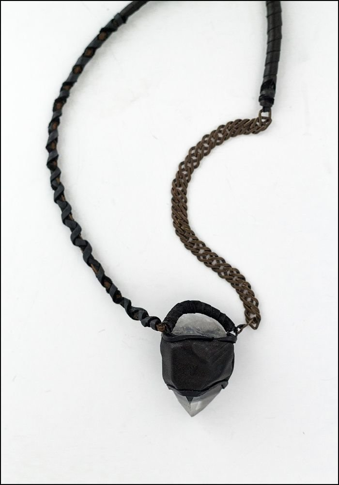 Design Aust Design Aust Chain and Leather Wrapped Quartz Necklace
