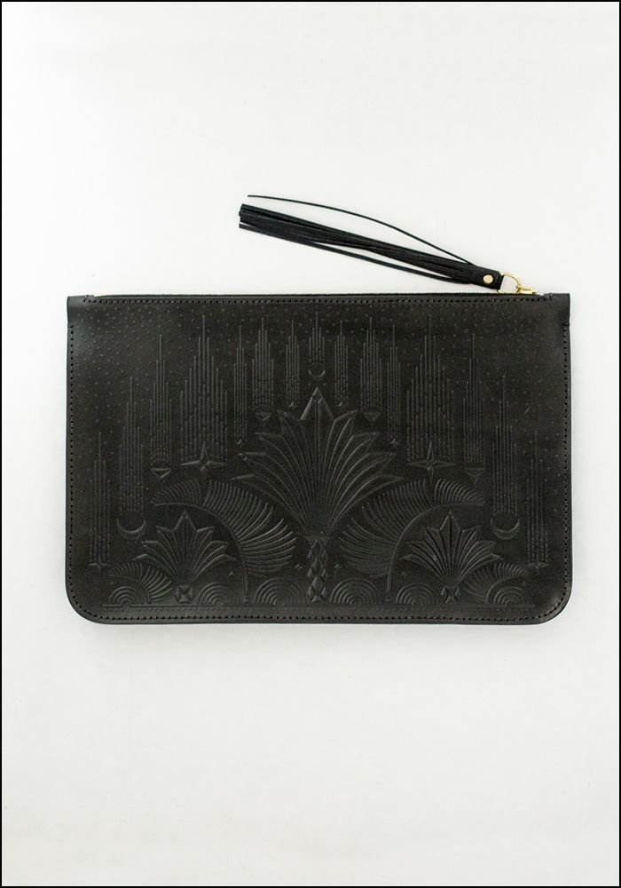 Animal Handmade Animal Handmade Embossed Leather Cut the Sky Clutch