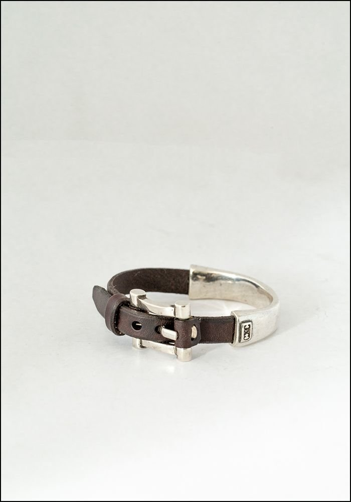 CXC Leather Buckle Half Cuff Bracelet