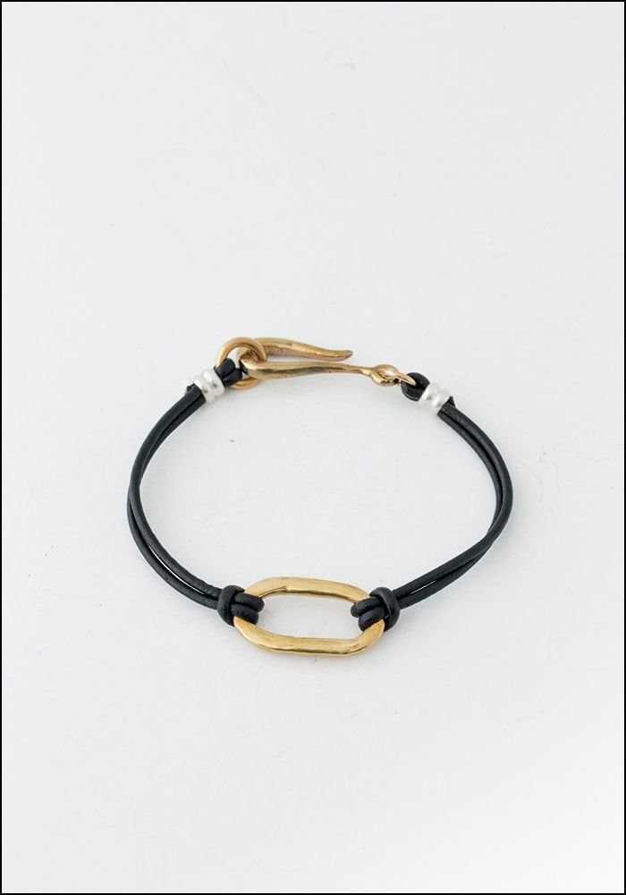 LHN LHN Hook and Oval Leather and Brass Bracelet