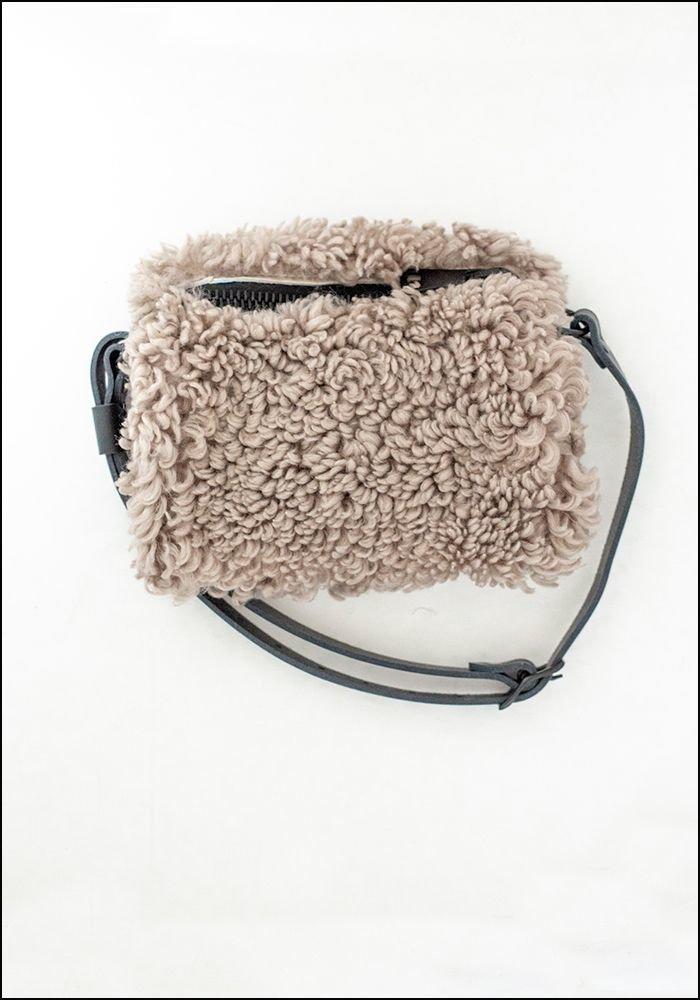 Your Bag of Holding Grey Shearling Belt Bag