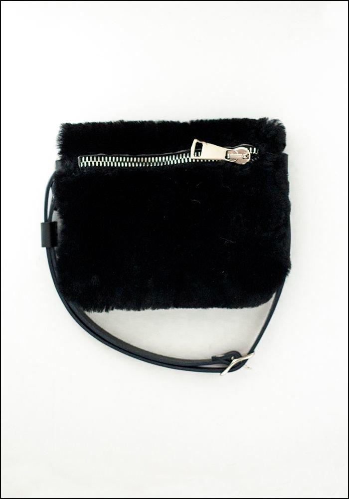 Your Bag of Holding Black Shearling Belt Bag