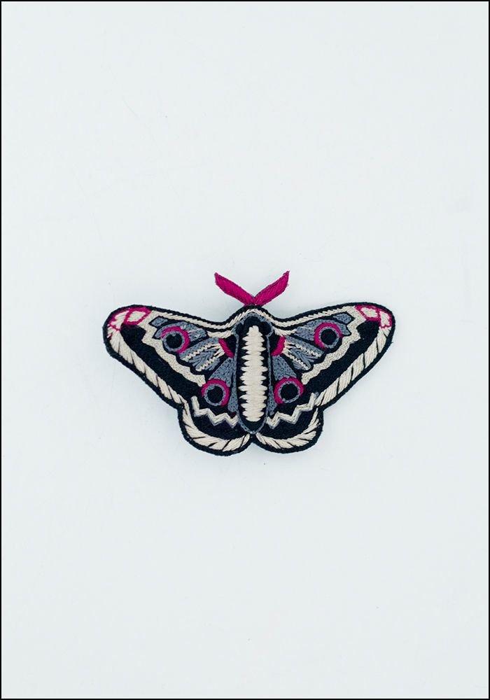 Narratives Black and Cream Moth Pin