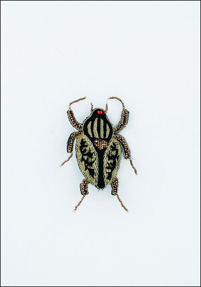 Narratives Black and Gold Embroidered Beetle Pin
