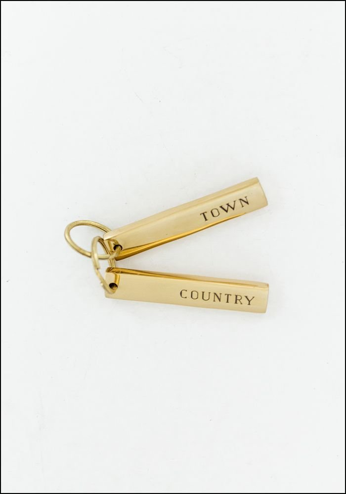 Sir Madam Town and Country Brass Keychain